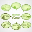 Royalty-Free Stock Vector Image: Set of protect the planet green text bubbles