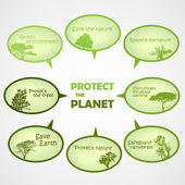 Set of protect the planet green text bubbles — Stock Vector