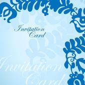 Blå inbjudningskort med ornament — Stockvektor