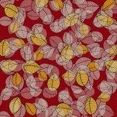 листья шаблон на красном — Cтоковый вектор