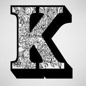 Letter K - Ornamental Initial — Stock Vector