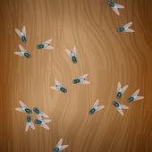 Ahşap masa üzerinde sinekler — Stok Vektör