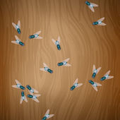 Flies on wooden table — Vector de stock