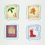 Vertical Christmas stamps — Stock Vector