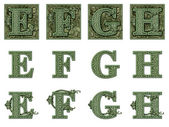 Money Alphabet E to H — Stock Photo