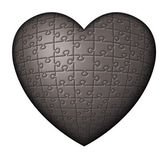 Black Puzzle Heart — Stock Photo