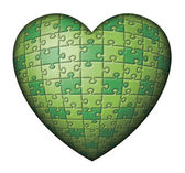 Green Puzzle Heart — Stock Photo