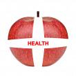 Medical health care red apple isolated on white — Stock Photo