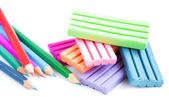 Lápis e argila de modelagem — Foto Stock