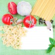 Stock Photo: Recipe card with ingredients