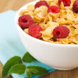 Stock Photo: Corn flakes with raspberries