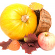 Pumpkin, fall leaves and apple — Stock Photo