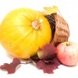 Pumpkin, yellow leaves and apple — Stock Photo