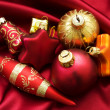 Christmas design with baubles and satin — Foto Stock