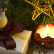 Royalty-Free Stock Photo: Christmas decoration with bird and candle