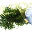 Christmas pine, ribbon and bauble — Stock Photo