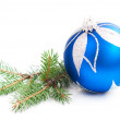Christmas Pine and Bauble — Stock Photo