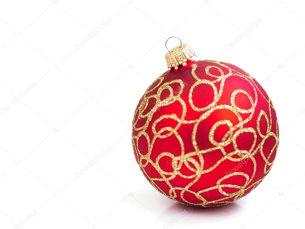 Red Christmas bauble  on a white background — Stock Photo #13628276
