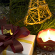 Christmas decoration with candle — Stock Photo