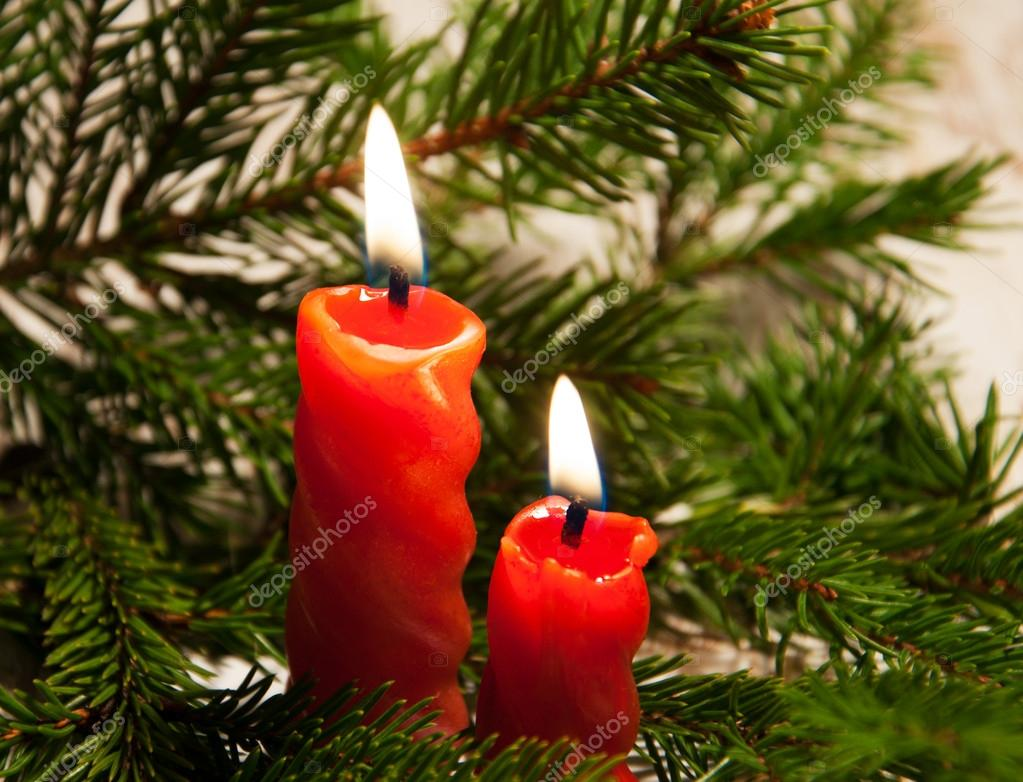 Two red burning candles and  christmas  tree — Stock Photo #16294051