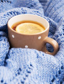 Tazza di tè in inverno — Foto Stock