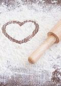 Flour heart — Stock Photo