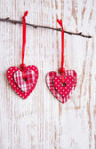Hearts hanging on a twig — Stock Photo