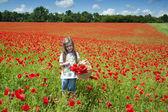 Girl on a poppy field — Stock Photo