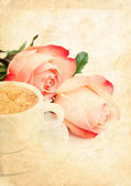 Grunge card with coffee and roses — Stockfoto