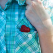 Heart in pocket of shirt - Foto de Stock