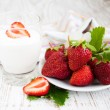 Strawberry  and yogurt — Stock Photo