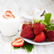 Strawberry  and yogurt — Photo