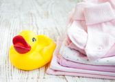 Newborn baby clothes — Stock Photo