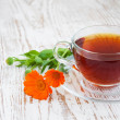 Tea with calendula — Stock Photo