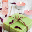 Soap and rose petals — Stock Photo #28211423