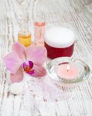 Spa instellen met orchideeën — Stockfoto
