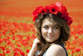 Young Woman in Poppy Field — Stock Photo