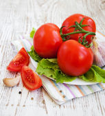 Tomatoes, basil and garlic — Stockfoto