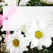 Flowers with white card — Stock Photo #30705155
