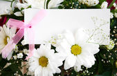 Flowers with a white card — Stock fotografie