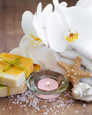 Spa set with white orchids — Stok fotoğraf