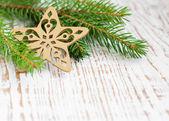 Kerstmis grens met pijnboom — Stockfoto