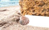 Papel em branco sobre a areia da praia — Foto Stock