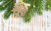 Christmas border with pine tree — Stock Photo