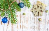 рождественские границы с сосна — Стоковое фото