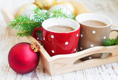 Christmas cappuccino — Stock Photo