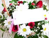 çiçekler beyaz kart ile — Stok fotoğraf