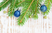 Christmas border with pine tree — Stockfoto