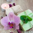 Stock Photo: Spset with orchids