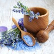 Mortar and pestle with lavender — Stock Photo